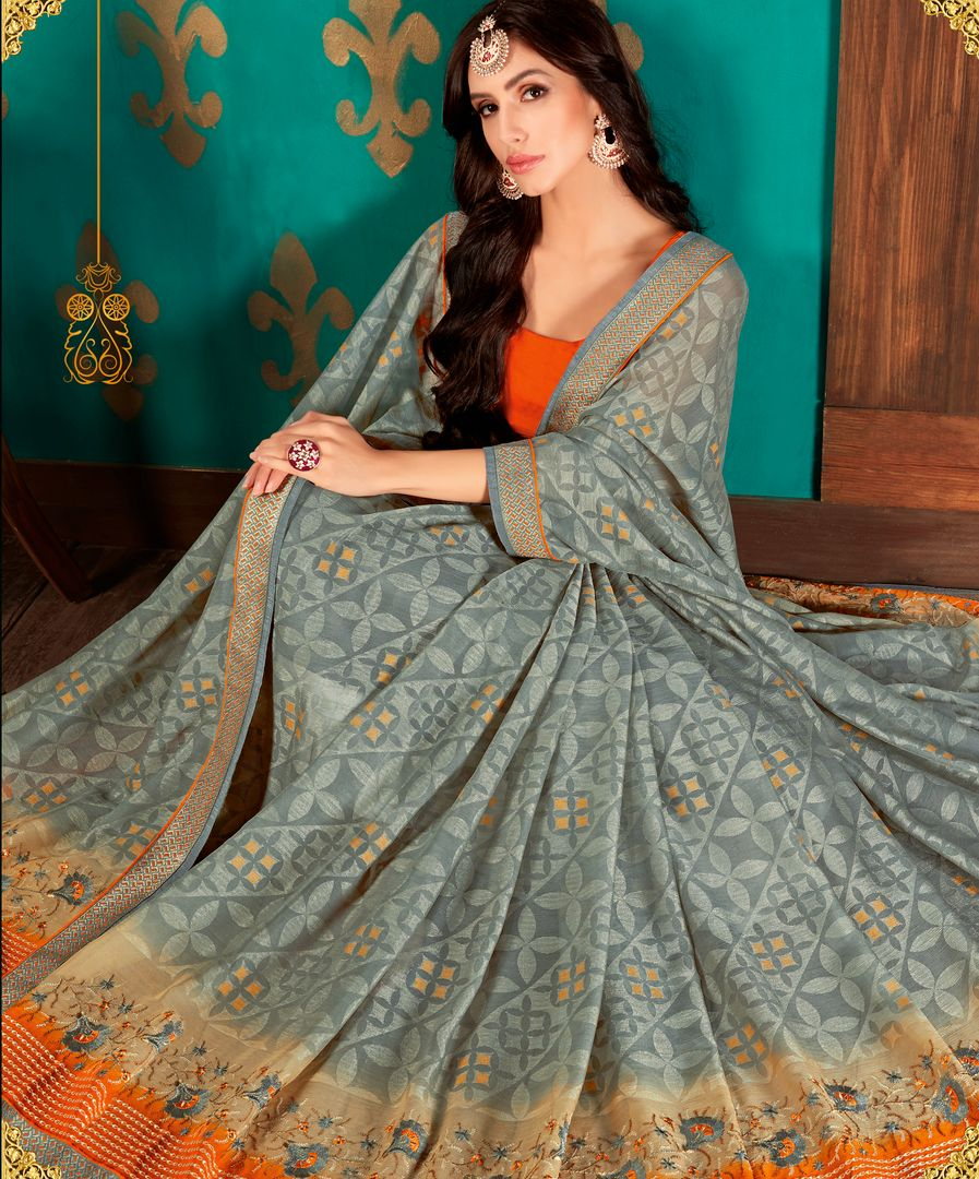 Grey Color Chiffon Party & Function Wear Sarees : Manohara Collection  NYF-2416 - YellowFashion.in