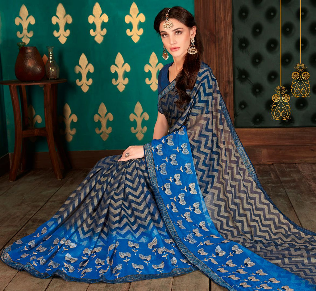 Blue Color Chiffon Party & Function Wear Sarees : Manohara Collection  NYF-2417 - YellowFashion.in