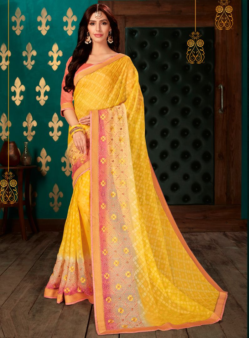 Yellow Color Chiffon Party & Function Wear Sarees : Manohara Collection  NYF-2418 - YellowFashion.in