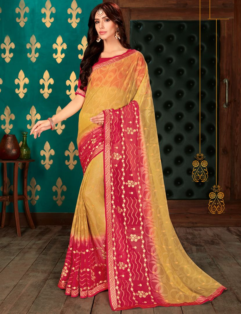 Golden & Pink Color Chiffon Party & Function Wear Sarees : Manohara Collection  NYF-2420 - YellowFashion.in
