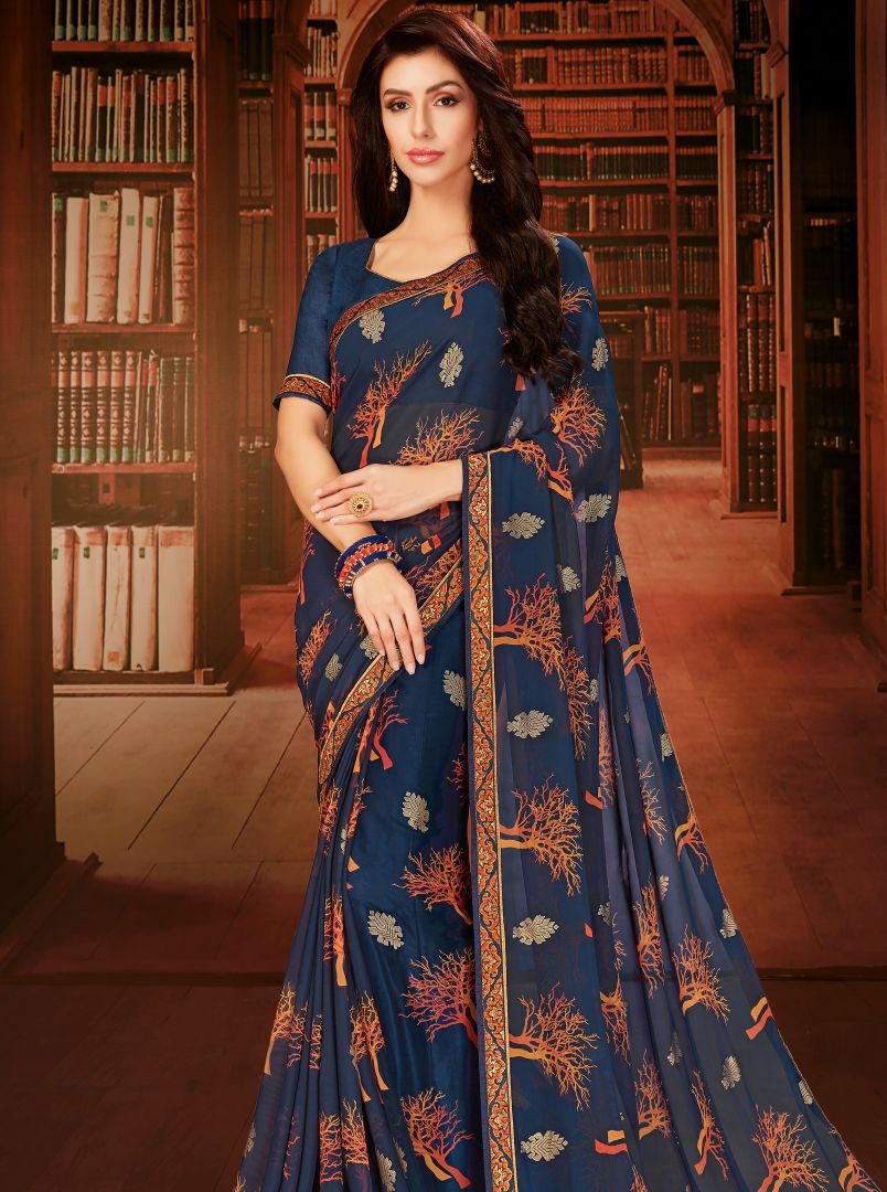 Blue Color Georgette Designer Kitty Party Sarees : Eshana Collection  NYF-2827 - YellowFashion.in