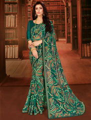 Green Color Georgette Designer Kitty Party Sarees : Eshana Collection  NYF-2828