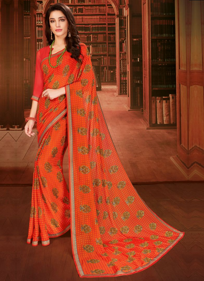Orange Color Georgette Designer Kitty Party Sarees : Eshana Collection  NYF-2829 - YellowFashion.in