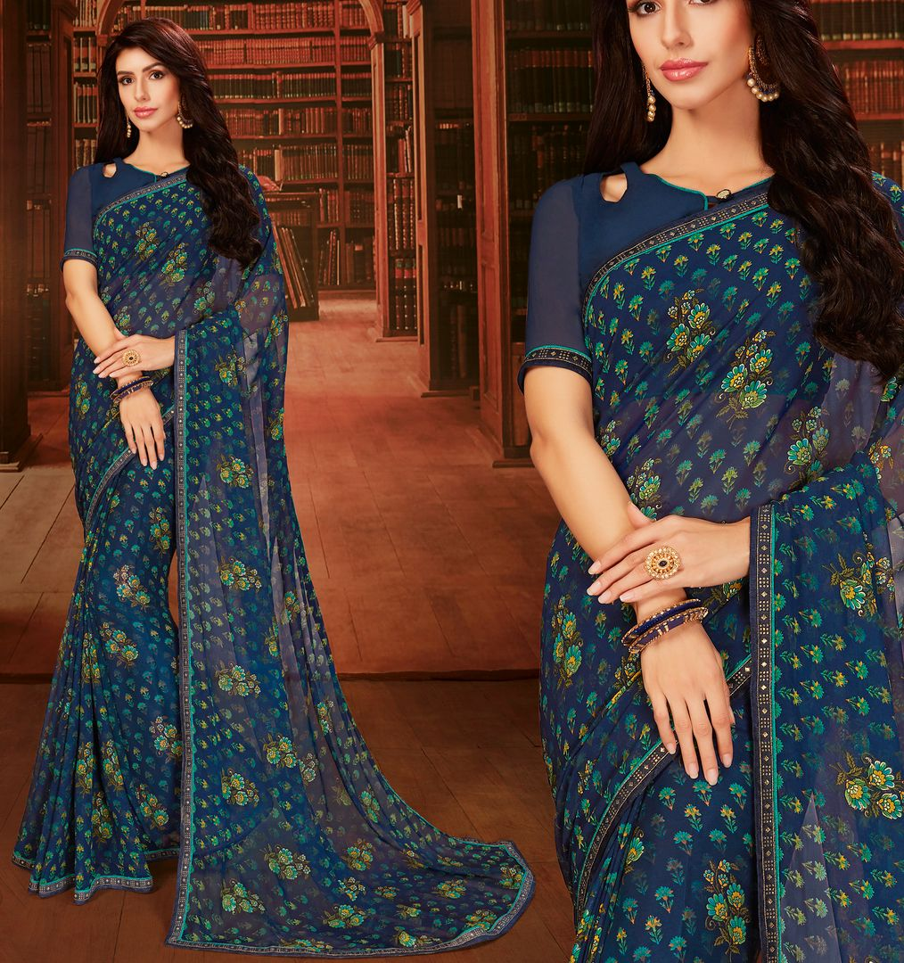 Blue Color Georgette Designer Kitty Party Sarees : Eshana Collection  NYF-2831 - YellowFashion.in