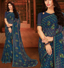 Blue Color Georgette Designer Kitty Party Sarees : Eshana Collection  NYF-2831
