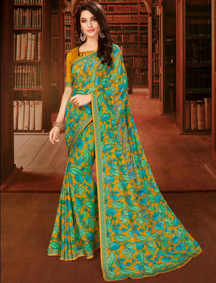 Multi Color Georgette Designer Kitty Party Sarees : Eshana Collection  NYF-2832 - YellowFashion.in