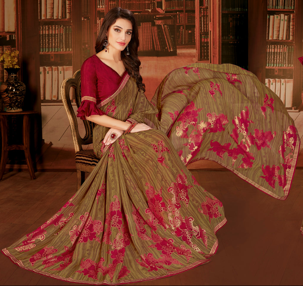 Brown Color Georgette Designer Kitty Party Sarees : Eshana Collection  NYF-2833 - YellowFashion.in