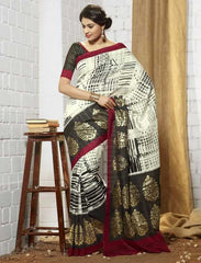 Cream Color Bhagalpuri Special Occasion Sarees : Shamshwet Collection  YF-27578