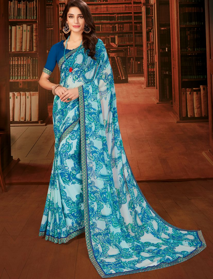 Sky Blue & Blue Color Georgette Designer Kitty Party Sarees : Eshana Collection  NYF-2835 - YellowFashion.in
