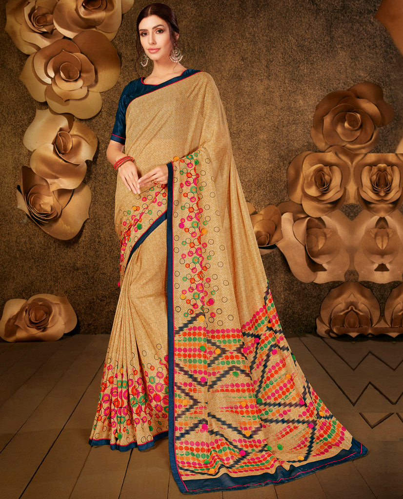Light Coffee Color Cotton Silk Party & Function Wear Sarees :  Praniti Collection  NYF-2294 - YellowFashion.in