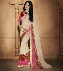 Light Coffee & Pink Color Wrinkle Chiffon Party Wear Sarees : Akanshika Collection  YF-32241