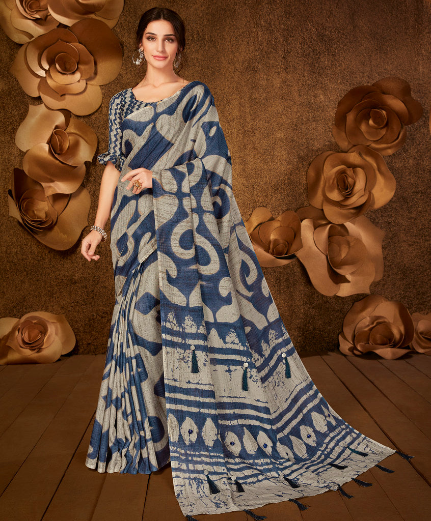 Blue Color Cotton Silk Party & Function Wear Sarees :  Praniti Collection  NYF-2295 - YellowFashion.in