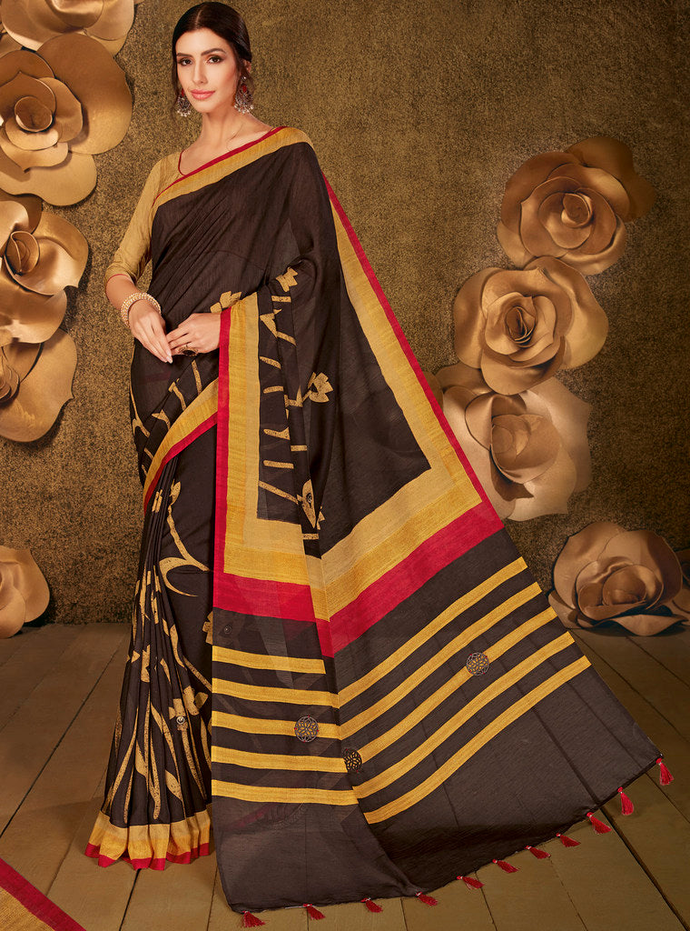 Dark Brown Color Cotton Silk Party & Function Wear Sarees :  Praniti Collection  NYF-2297 - YellowFashion.in