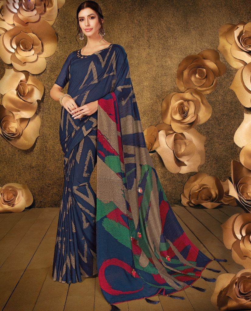 Blue Color Cotton Silk Party & Function Wear Sarees :  Praniti Collection  NYF-2292 - YellowFashion.in
