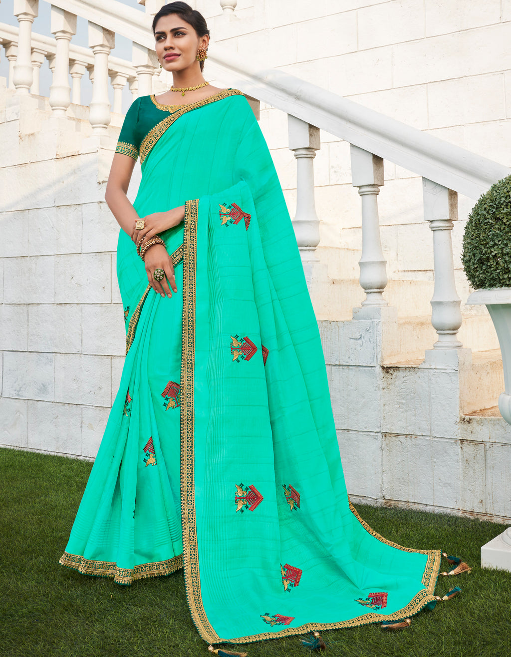 Sea Green Color Banarasi Cotton Silk  Sarees For Newly Wedded NYF-5706