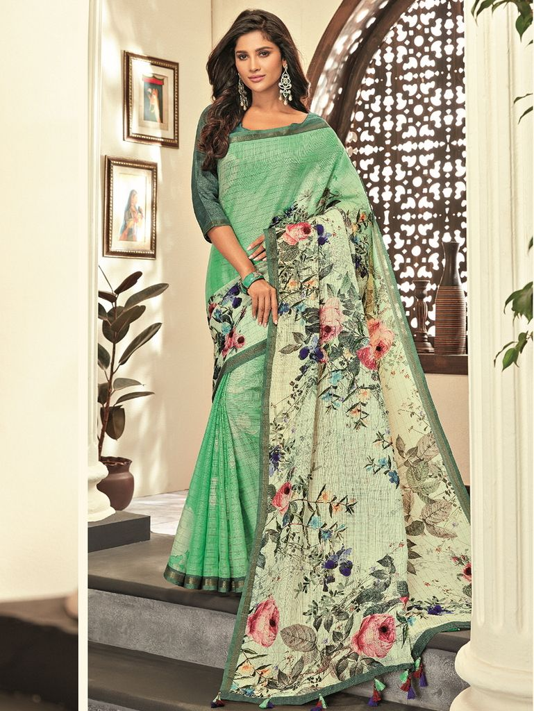 Pastel Green Color Cotton Silk Designer Festive Sarees : Preshan Collection  NYF-2114 - YellowFashion.in