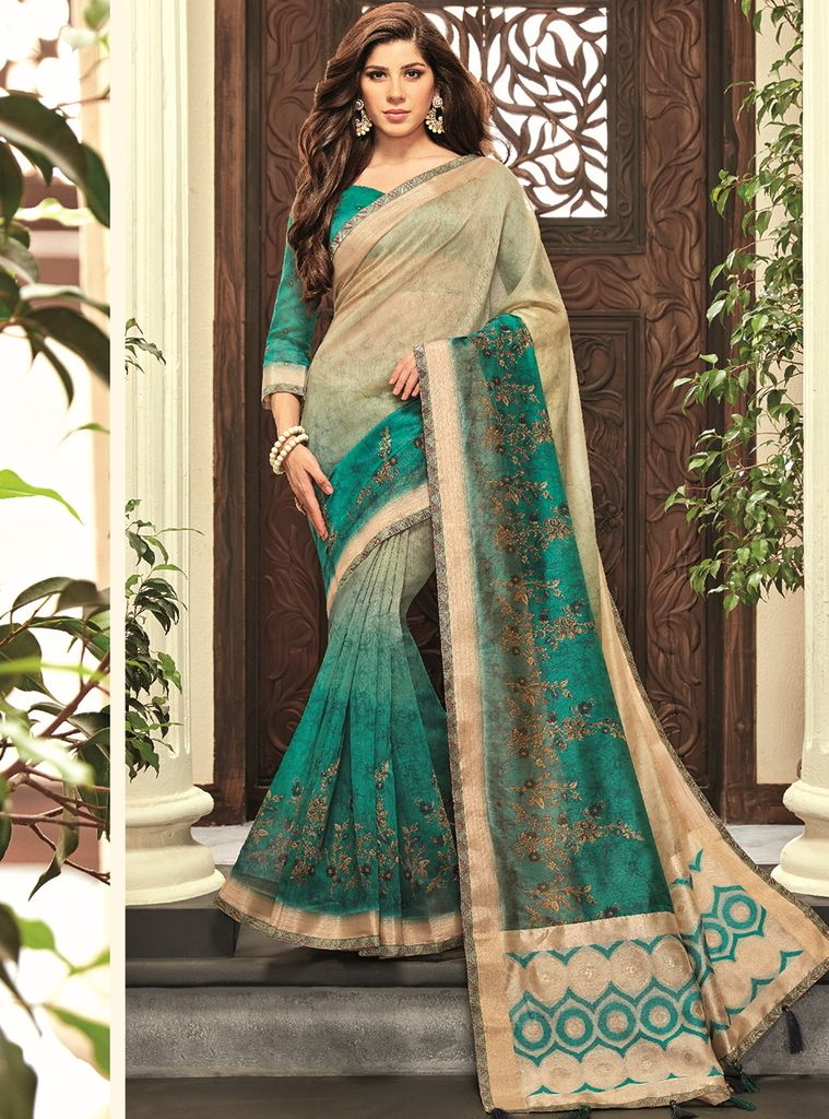 Rama Green & Cream Color Cotton Silk Designer Festive Sarees : Preshan Collection  NYF-2115 - YellowFashion.in
