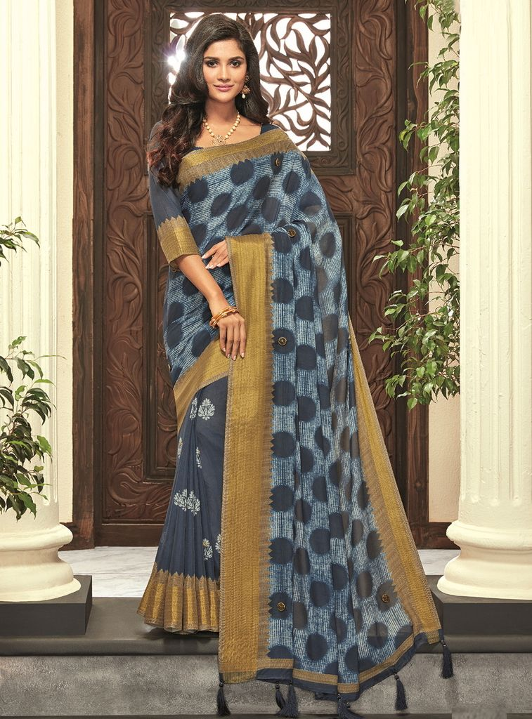 Blue Color Cotton Silk Designer Festive Sarees : Preshan Collection  NYF-2117 - YellowFashion.in