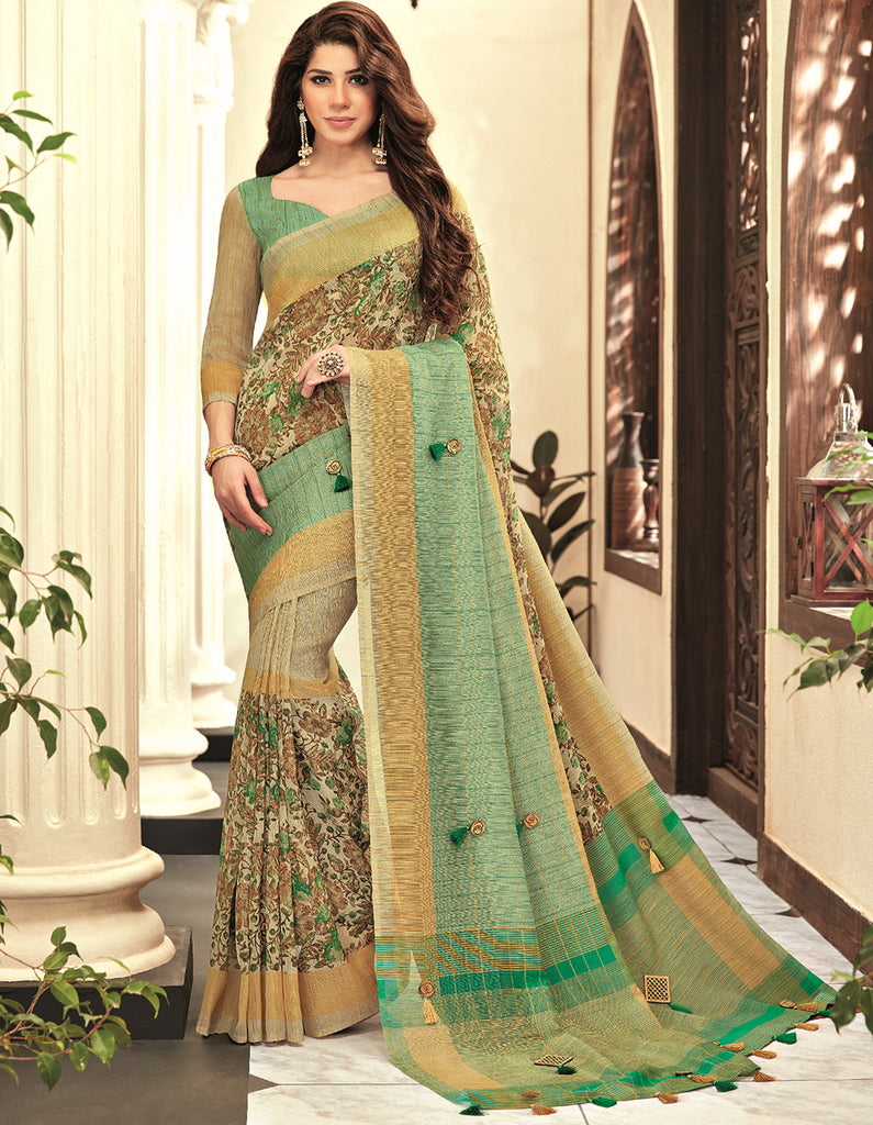 Green & Beige Color Cotton Silk Designer Festive Sarees : Preshan Collection  NYF-2120 - YellowFashion.in