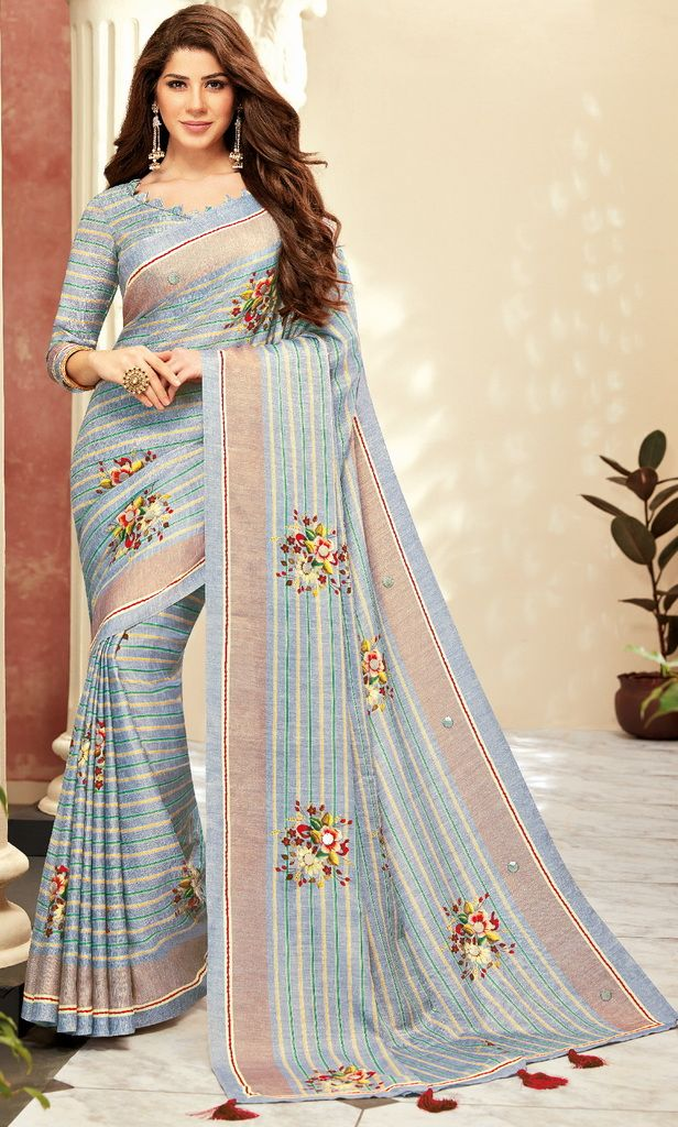 Grey Color Cotton Silk Designer Festive Sarees : Preshan Collection  NYF-2110 - YellowFashion.in