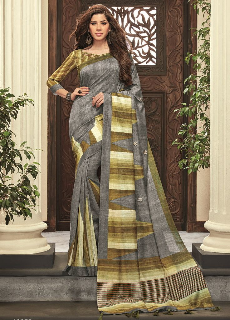 Grey Color Cotton Silk Designer Festive Sarees : Preshan Collection  NYF-2123 - YellowFashion.in
