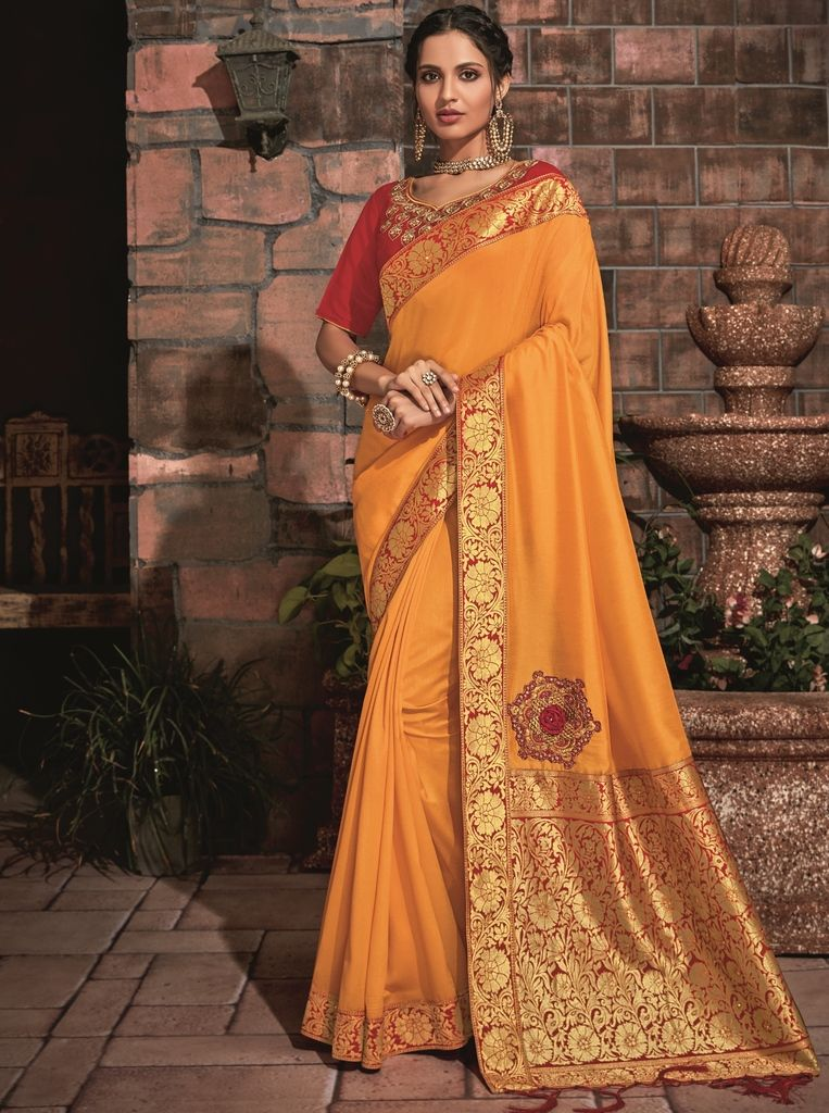 Turmeric Yellow Color Two Tone Silk Designer Festive Sarees : Manrisha Collection  NYF-1684 - YellowFashion.in
