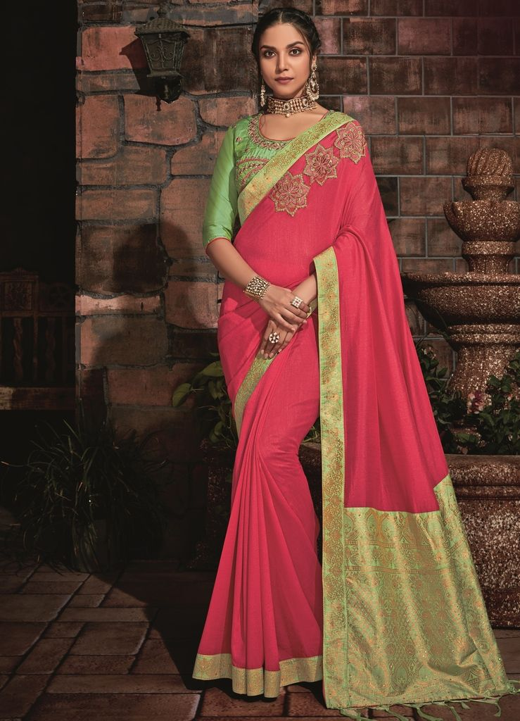 Pink Color Two Tone Silk Designer Festive Sarees : Manrisha Collection  NYF-1685 - YellowFashion.in