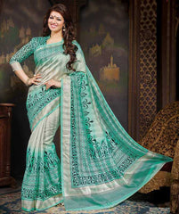 Sea  Green Color Bhagalpuri Casual Wear Sarees :  Krushi Collection  YF-28135