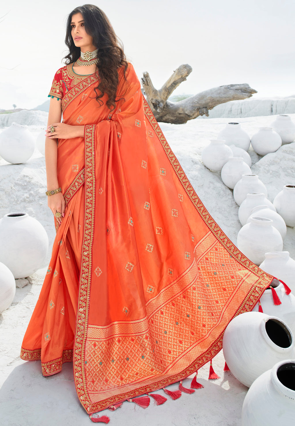 Orange Color Weaving & Jacquard Silk Designer Festive Sarees NYF-9295