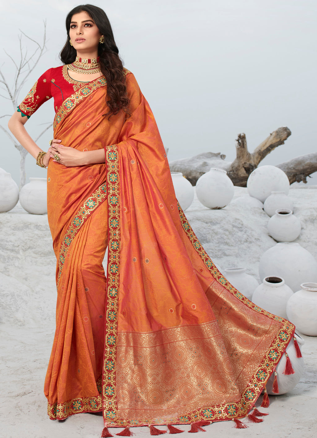 Orange Color Weaving & Jacquard Silk Designer Festive Sarees NYF-9297