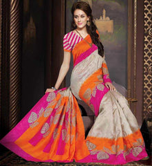 Pink & Orange Color Bhagalpuri Casual Wear Sarees :  Krushi Collection  YF-28167