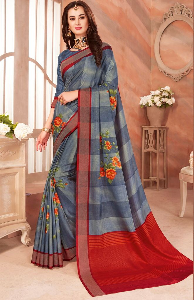 Grey Color Cotton Silk Casual Party Sarees : Ambala Collection  NYF-2146 - YellowFashion.in