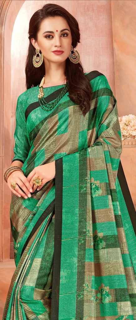 Green Color Cotton Silk Casual Party Sarees : Ambala Collection  NYF-2147 - YellowFashion.in
