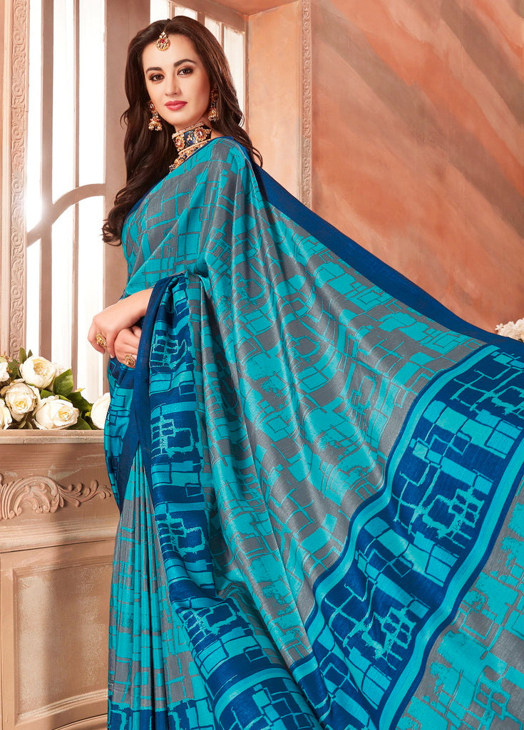 Firozi & Blue Color Cotton Silk Casual Party Sarees : Ambala Collection  NYF-2149 - YellowFashion.in