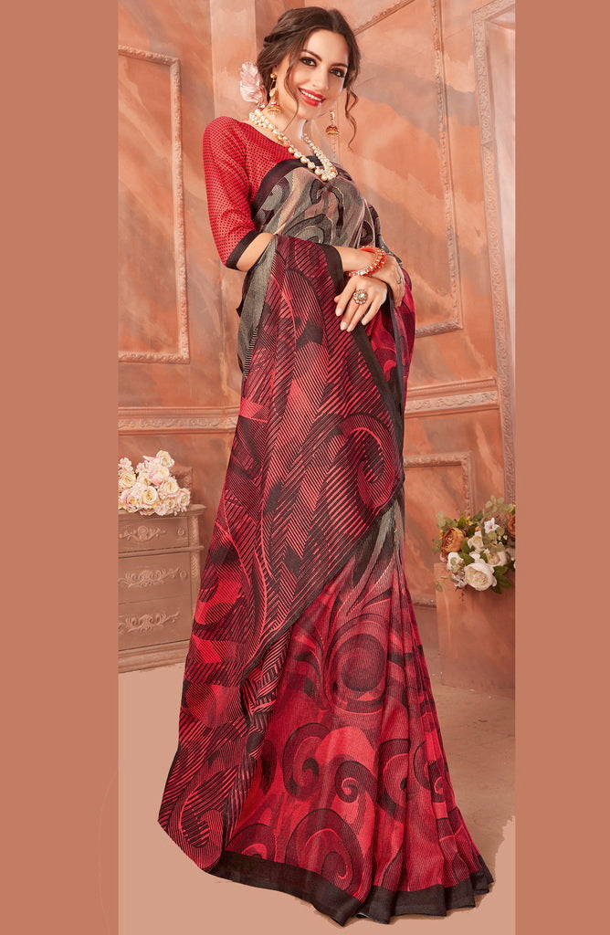 Grey & Red Color Cotton Silk Casual Party Sarees : Ambala Collection  NYF-2150 - YellowFashion.in