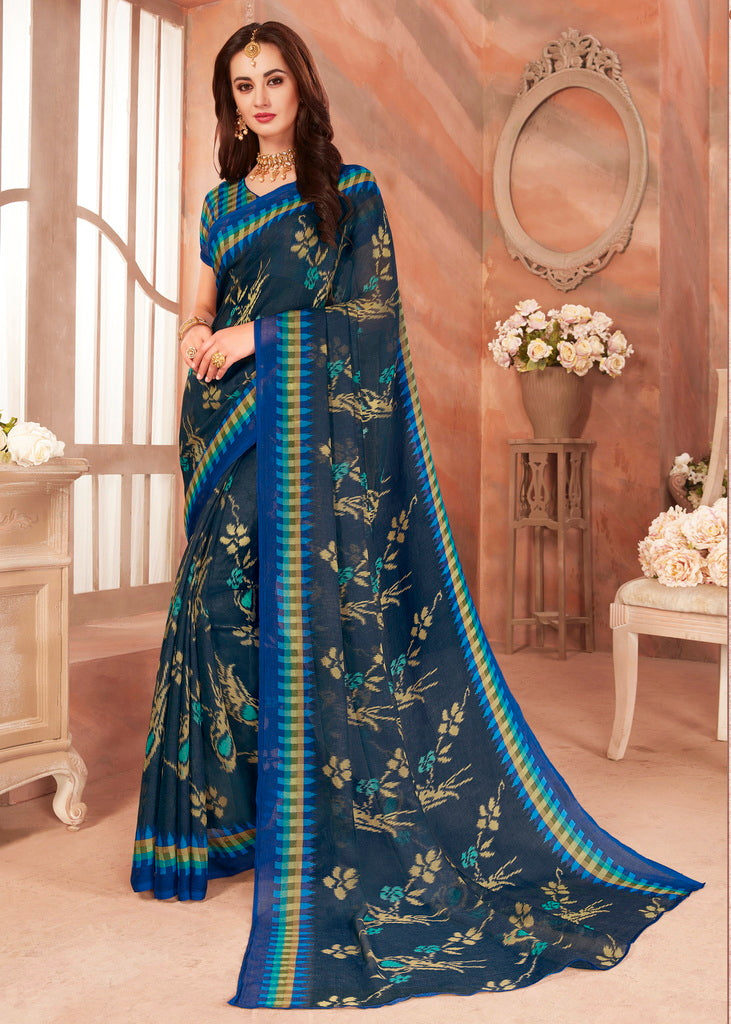 Blue Color Chiffon Casual Party Sarees : Ambala Collection  NYF-2152 - YellowFashion.in