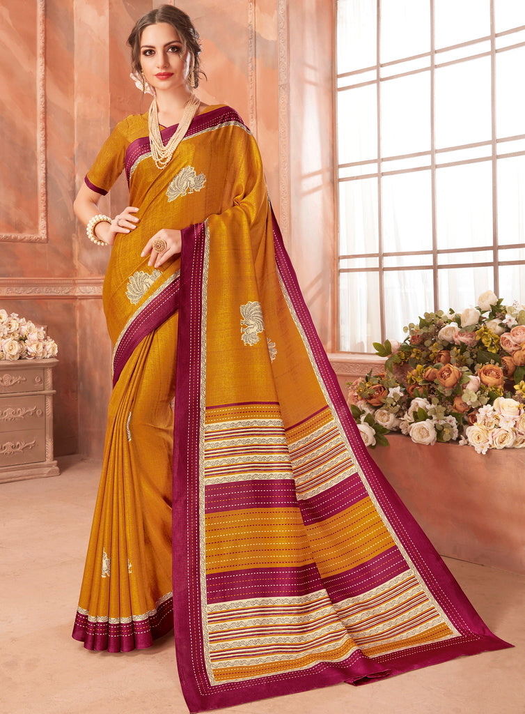Mustard Yellow Color Cotton Silk Casual Party Sarees : Ambala Collection  NYF-2153 - YellowFashion.in