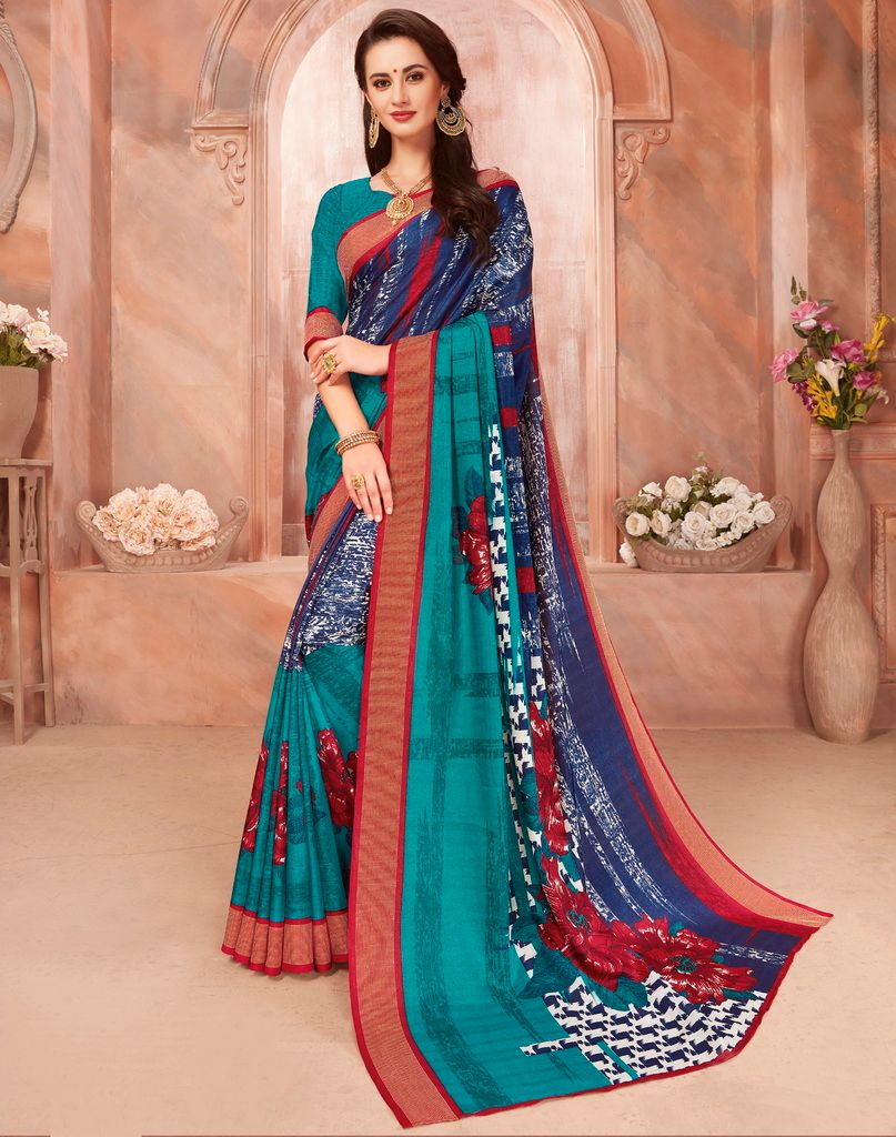 Blue & Sea Green Color Cotton Silk Casual Party Sarees : Ambala Collection  NYF-2154 - YellowFashion.in