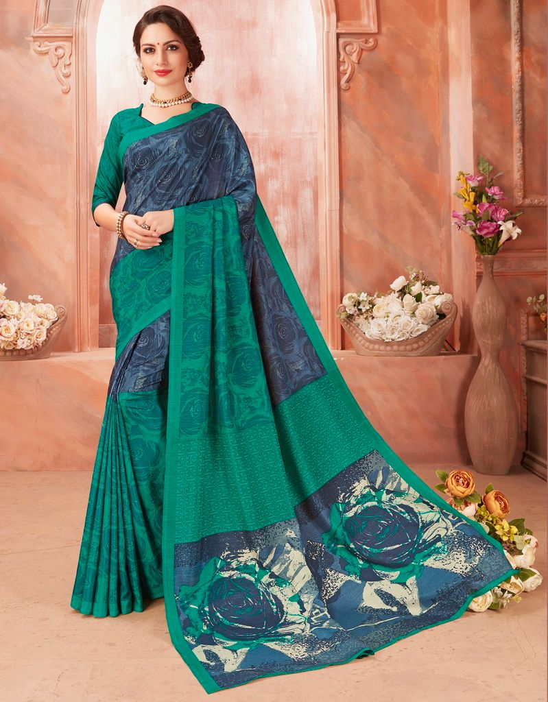 Blue & Green Color Pashmina Silk Casual Party Sarees : Ambala Collection  NYF-2156 - YellowFashion.in