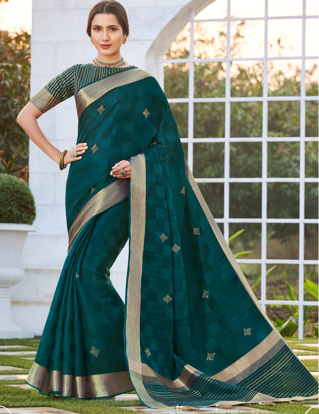 Rama Green Color Banarasi Cotton Silk  Sarees For Newly Wedded NYF-5708
