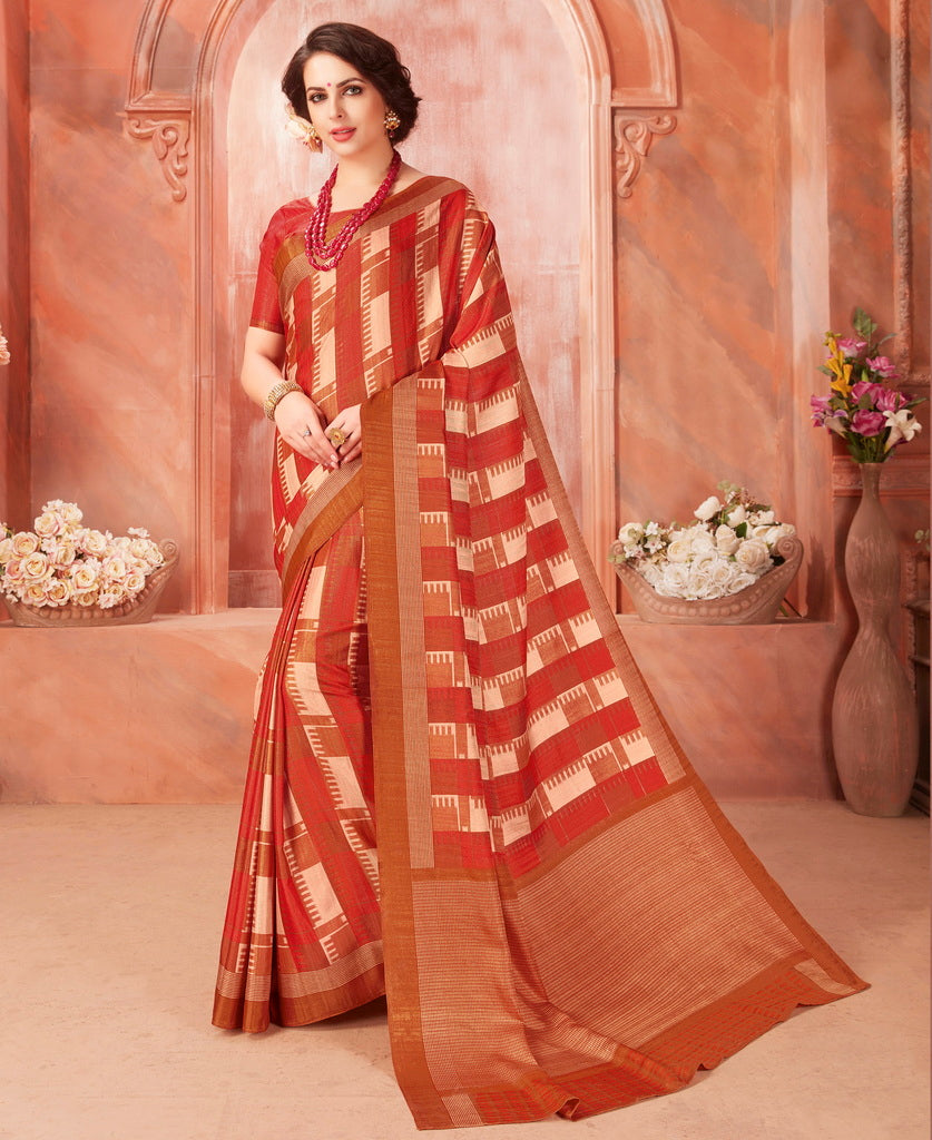 Cream & Brick Red Color Tussar Silk Casual Party Sarees : Ambala Collection  NYF-2161 - YellowFashion.in
