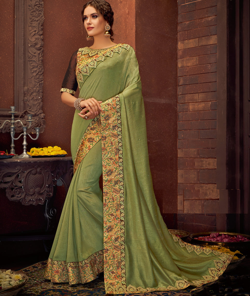 Green Color Silk Georgette Splendid Festive Sarees NYF-5209