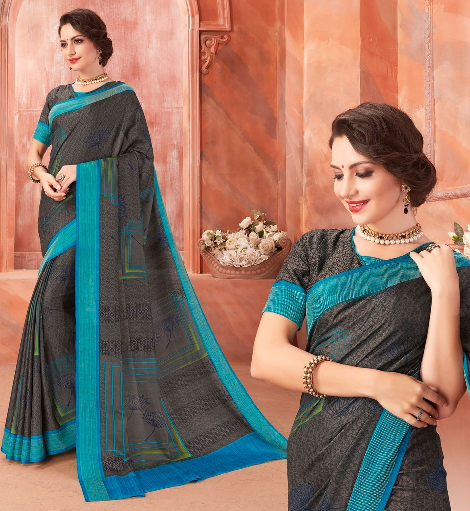 Dark Grey Color Tussar Silk Casual Party Sarees : Ambala Collection  NYF-2162 - YellowFashion.in