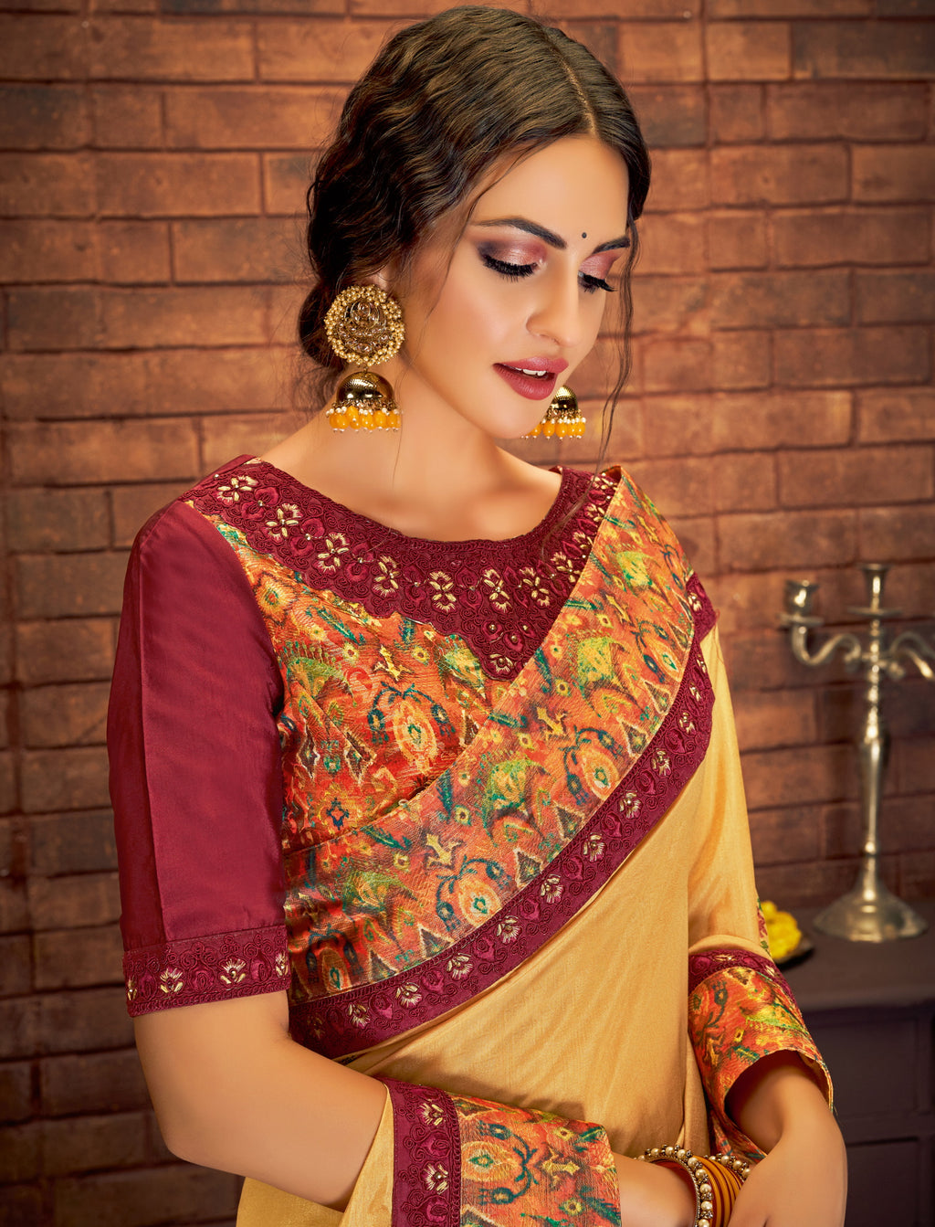 Yellow Color Dual Tone Silk Georgette Splendid Festive Sarees NYF-5210