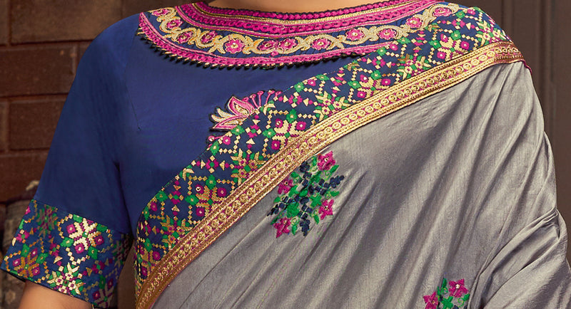 Grey Color Cotton Silk Splendid Festive Sarees NYF-5211