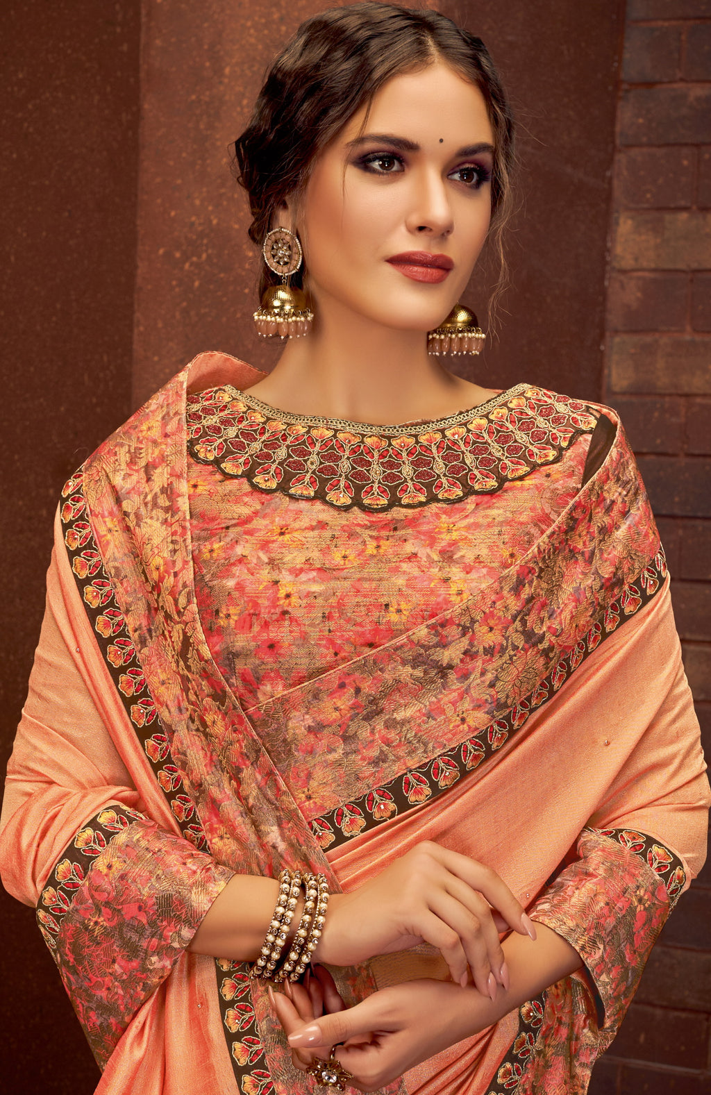 Peach Color Silk Georgette Splendid Festive Sarees NYF-5213