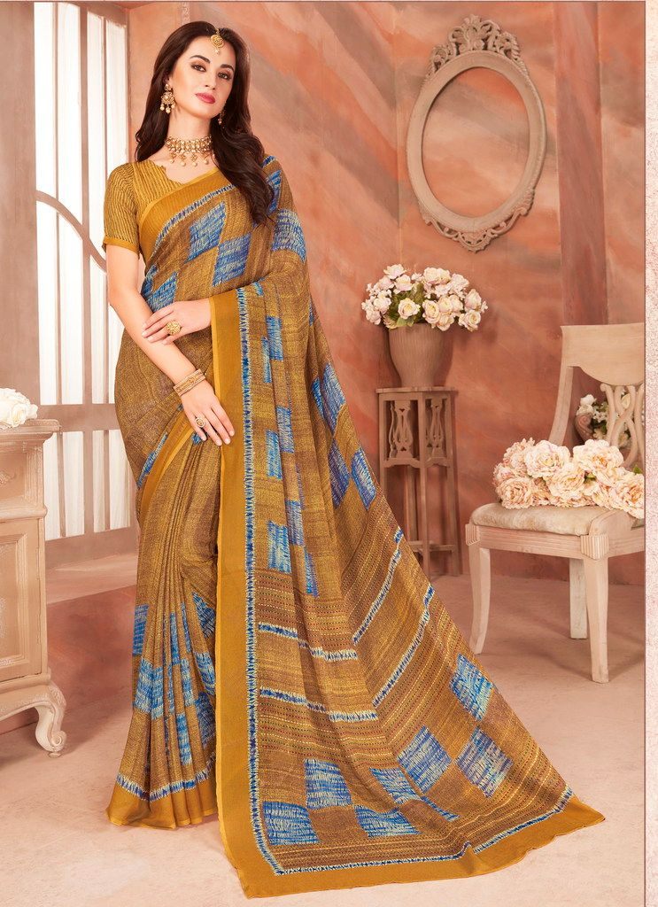 Mustard Yellow Color Cotton Silk Casual Party Sarees : Ambala Collection  NYF-2166 - YellowFashion.in