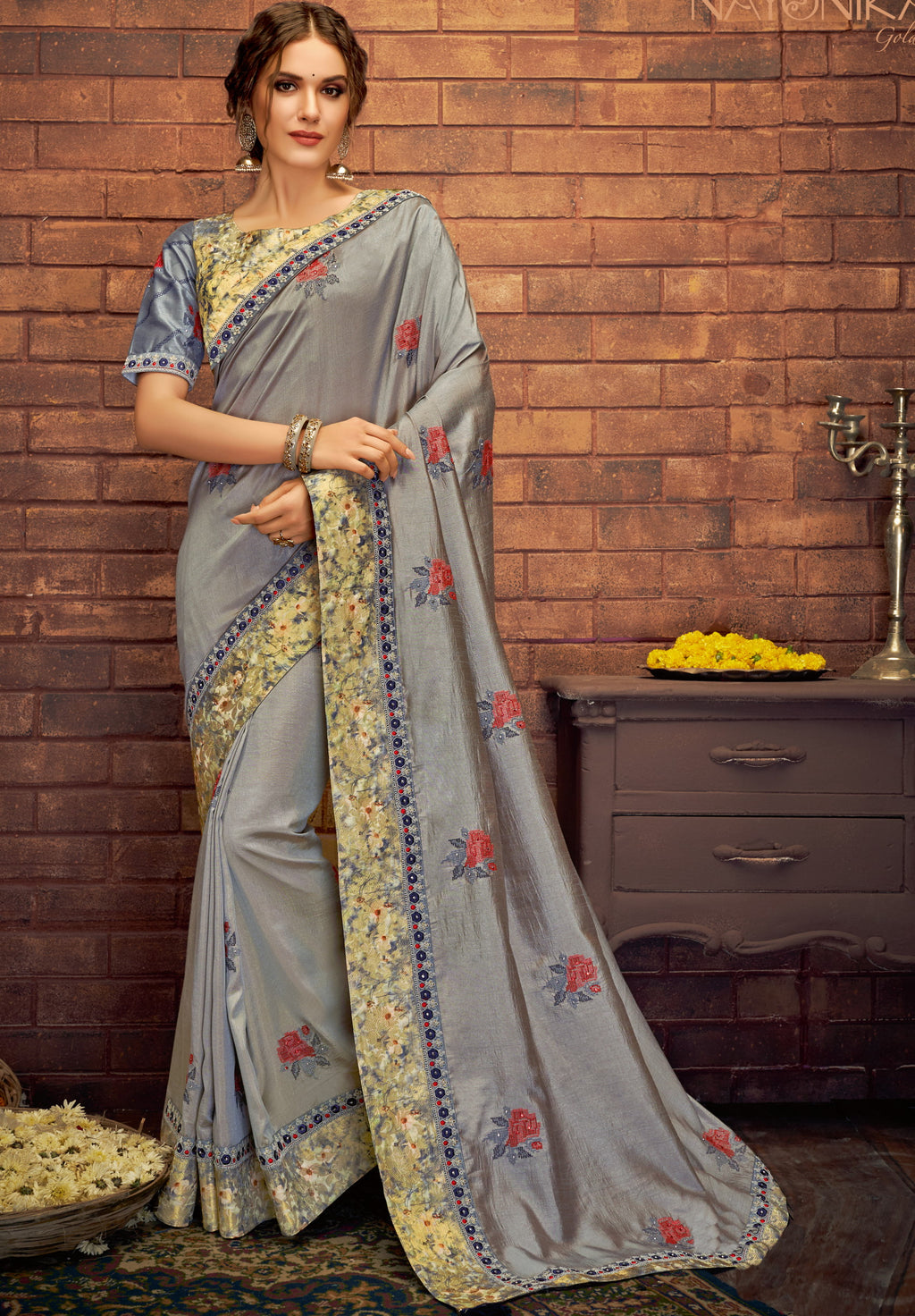 Grey Color Dual Tone Silk Splendid Festive Sarees NYF-5214