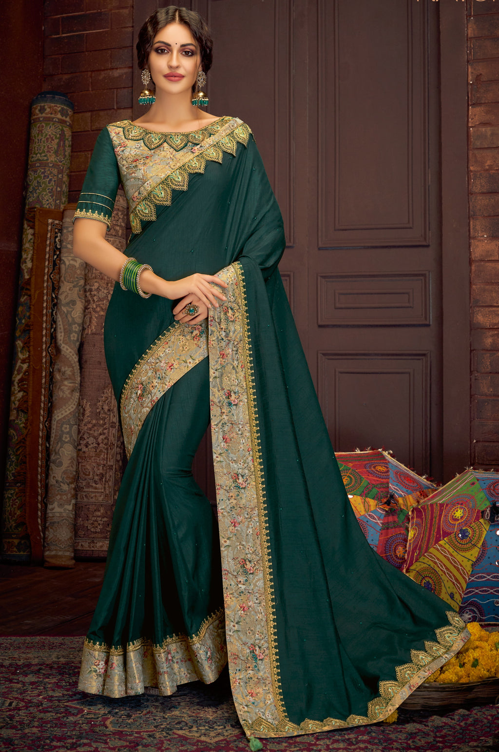 Green Color Satin Silk Splendid Festive Sarees NYF-5215