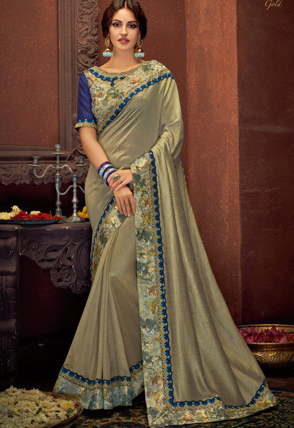 Grey Color Dual Tone Silk